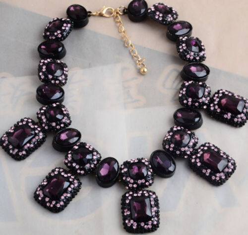 new design women multi purple crystal bubble square bib statement necklace hot