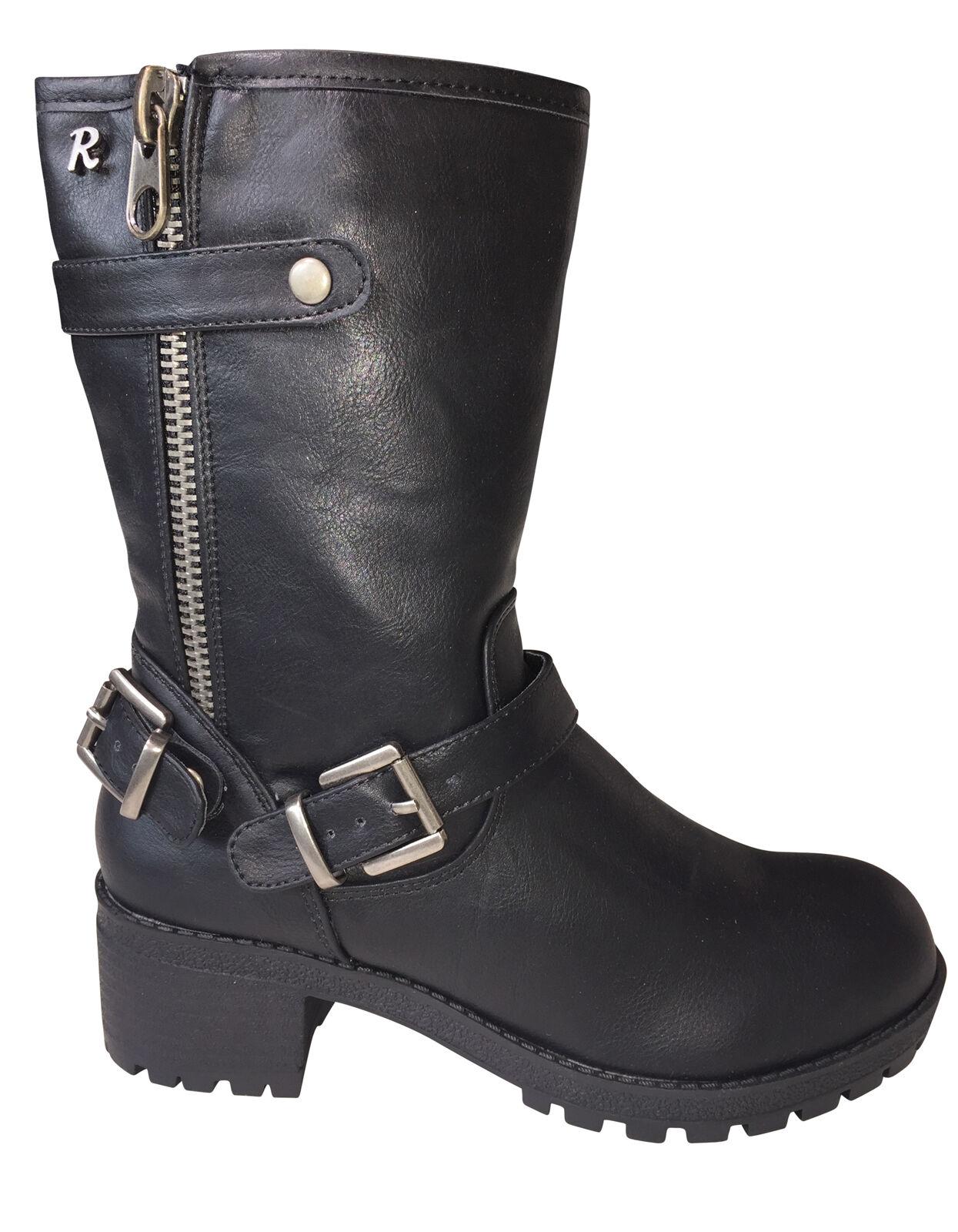 Refresh señora botas motorista Boot botas botas de invierno ciudad botas negro