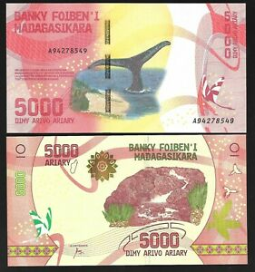 MADAGASCAR-5000-ARIARY-2017-P-102-UNC-NOTE-NEW-REDESIGNED-WHALE