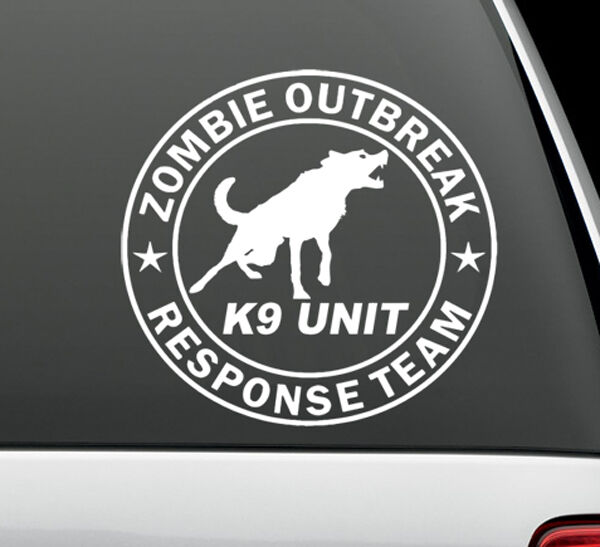 Zombie outbreak k9 unit response vinyl decal sticker auto graphics 5 diameter