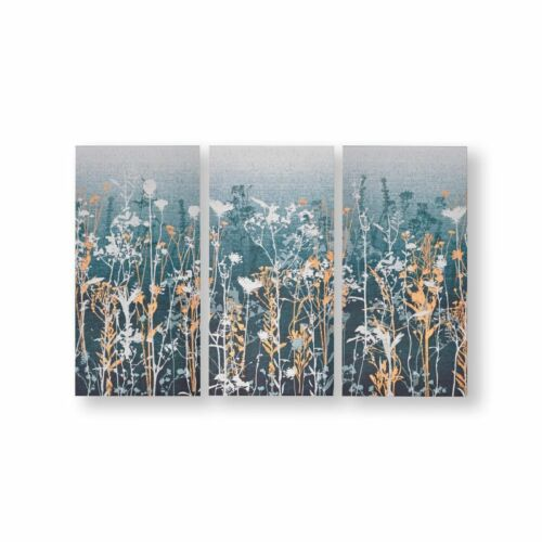 Art for the Home Wildflower meadow Set of 3 Canvas Printed Canvas