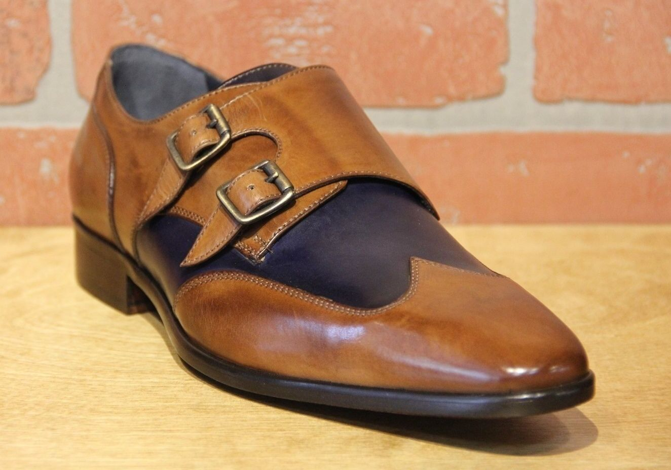 Calzoleria Toscana Men's Monk Strap Brick bluee Leather Dress shoes 1689