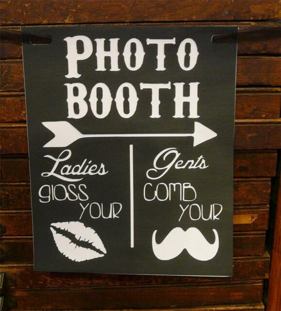 Photo Booth Wedding Engagement Sign Props Black & White Gloss Your Lips