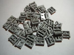 LEGO BULK LOT 40 LIGHT BLUISH GRAY CLOSED END 1X2 PLATES HANDLE SIDE #48336
