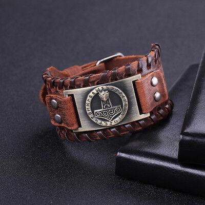 VASSAGO Bracelet talisman vintage en cuir et m/étal mythe nordique du marteau de Thor