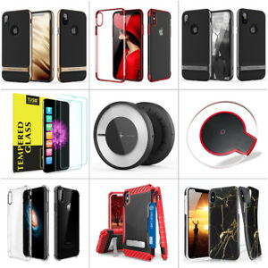 Qi Wireless Charger + Phone Case + 2pcs Tempered Glass Screen for iPhone X/8/8+