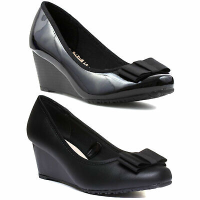 LADIES BLACK PATENT BOW COMFORT PLUS SMART COURT WEDGE SHOES WIDE FIT,3-8 ARVADA