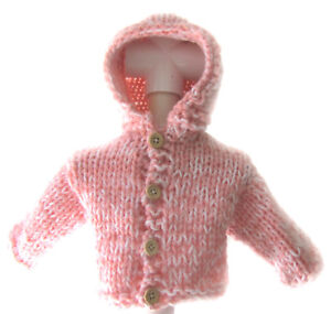 b24ceacce NEW KSS Handmade Heavy Pink White Hooded Baby Sweater Jacket 3 ...