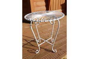 RUSTIC SHABBY CHIC RETRO STYLE ORNATE WHITE METAL GARDEN TABLE SIDE ...