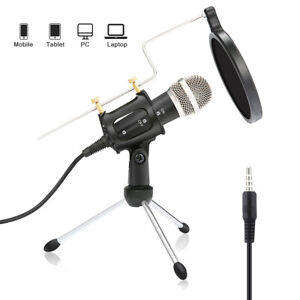 Microphone Condenser Sound Studio Recording Mic with Stand Holder For PC Laptop