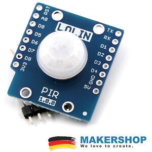 PIR-Sensor-Shield-IR-Infrarot-Bewegungsmelder-SR501-fuer-Wemos-D1-Mini-Lolin