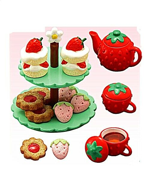 Re-Siet  Strawberry World   7- Tea Party, 1 6 minis Barbie dollhouse scale food