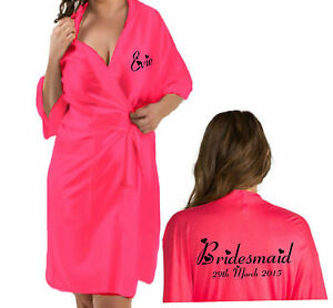 Personalised-Bridal-Wedding-Robe-Gown-in-HOT-PINK-satin-Bride-Gift-Bag-option