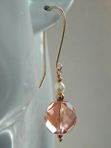 Art Deco Czech Pink Faceted Glass Cultured Pearls Rose Gold Vermeil Earrings Ebay