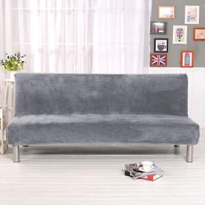 Armlose Stretch Plüsch Sofabezug Vollklappbare Schlafsofa Bettbezug+Kissenbezug
