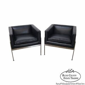 Incredible Details About Knoll Pair Mid Century Modern Chrome Frame Black Leather Lounge Chairs B Dailytribune Chair Design For Home Dailytribuneorg