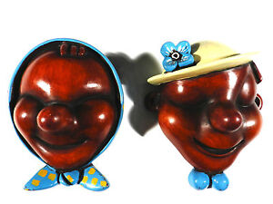 Walter-BOSSE-Achatit-Wandmaske-n-Tiroler-Paar-Madl-amp-Bub-Keramik