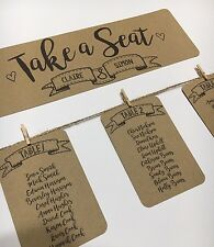 RUSTIC-SHABBY CHIC-WEDDING TABLE SEATING PLAN-TAGS-HEADER CARD-KRAFT CARD