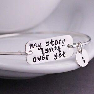 Neu My Story Isn\'t Over Yet Armreif Armband Semikolon Schmuck Draht ...