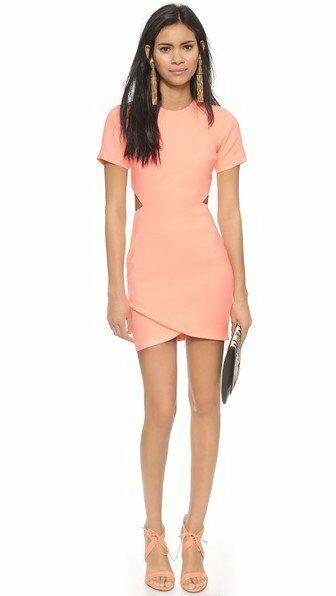 365 Elizabeth and James Coral Glow Cut Out Skylyn Sheath Dress NWT E298