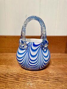 Hand Blown Art Glass Handbag/Purse Vase Blue Swirl on White