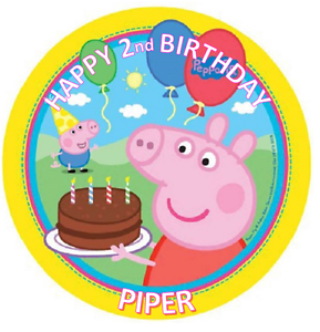 PEPPA PIG BIRTHDAY Personalised Edible Icing Cake Topper ...