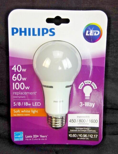 Philips 40w 60w 100w Equivalent Soft White 3 Way Led Light Bulb