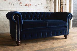 Image Is Loading Traditional Handmade 3 Seater Plush Navy Blue Velvet