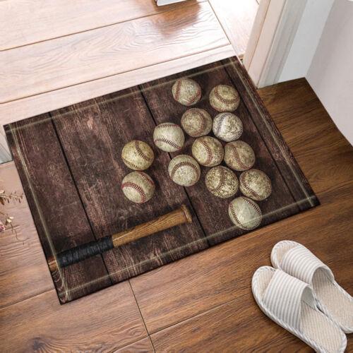 """Baseball And Bat On Wooden Bathroom Rug Non-Slip Floor Door Mat Flannel 16x24/"""""""