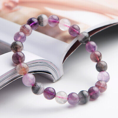 Genuine Natural Colorful Auralite 23 Crystal Round Beads Woman Bracelet 8mm AAAA