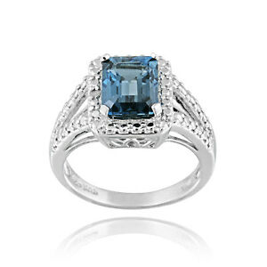 925-Silver-3-4ct-Emerald-Cut-London-Blue-Topaz-amp-Diamond-Accent-Ring