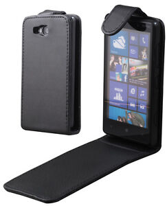 Flip-PU-Leather-Case-Pouch-Black-For-Nokia-Lumia-820