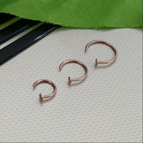 Rose Gold Open Nose Ring Hoop Cartilage Piercing Helix Studs Eyebrow 18g Or 20g