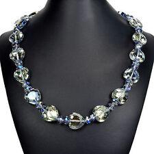 Heart Blue Mystic Fire Crystal Love Knot Necklace Bespoke Designer Jewellery