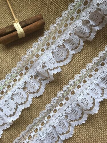 White Iridescent Gathered Lace Double with Eyelet 2.5 inch//6.5 cm