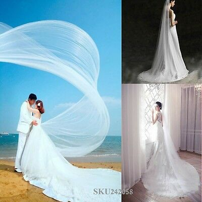 1  Layer 2-5m Seaside Cathedral Bridal Wedding Photo Party Long Veil With Comb