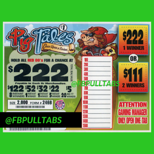 FUNDRAISER PIG TALES FREE SHIPPING 2000 PULL TABS $508 PROFIT $1 EACH