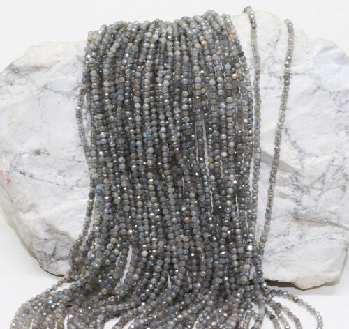 Details about  /Labradorite Silver Coated 2 mm Faceted Round Center Drill beads 13 Inches strand