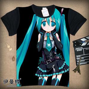 Cosplay Miku Hatsune Vocaloid Anime Manga T-Shirt Kostüme Schwarz Polyester Neu