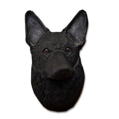 German Shepherd Head Plaque Figurine Gold W//Black Saddle