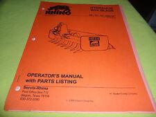 Drawer 13 Rhino Servis Hydraulic Box Blade 66 72 78 84 Operators Manual
