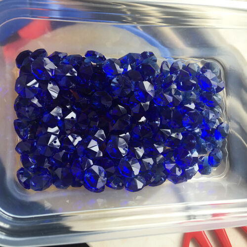 50 Blue 14mm Octagon Glass Crystal Beads Chandelier Part Decor Lamp Prism 2Holes