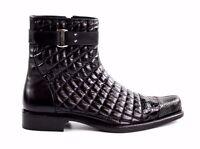 Belvedere Boot Libero Mens Genuine Alligator /soft Quilted Leather Black 819