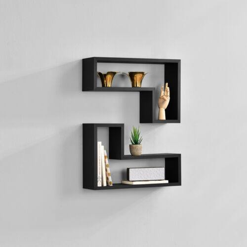 en. casa 2er Set Étagère murale suspendu étagère de bibliothèque étagère CD étagère style Lounge Noir