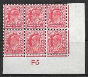 1d Scarlet Control F6 imperf perf type V2A plate 42 MOUNTED MINT