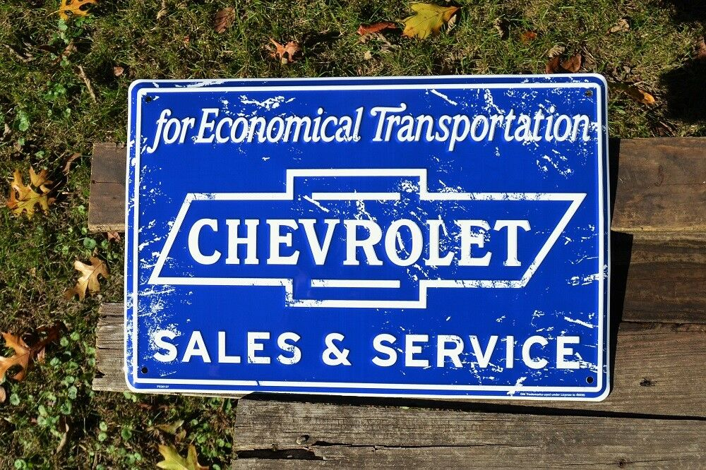 Chevy Dealer Trucks Chevrolet Sales /& Service Embossed Tin Sign GM Bowtie