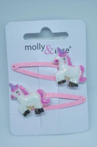 Glitter Unicorn Hair Sleepie Clips x2 Pink White Mauve 589
