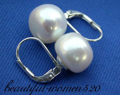 Z1080 belle 12 mm White Freshwater Pearl Earring Silver Stud