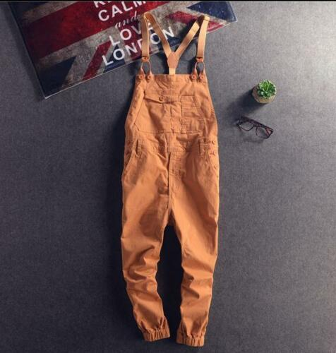 Mens Suspender Trousers Womens Leisure Overalls Skinny Ninth Pants Jumpsuit F705