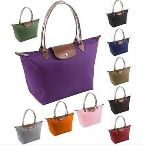 Damen Shopping Shopper 25 Farbe Nylon Faltbare Tasche Handtasche Schultertasche